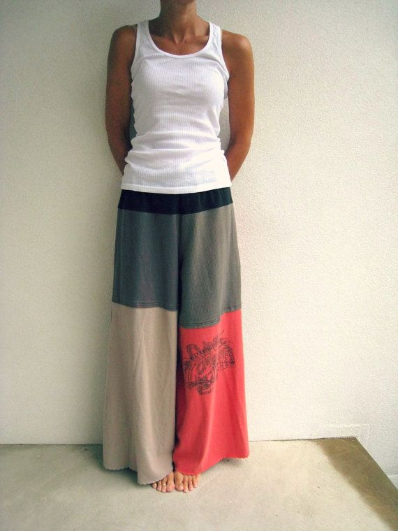 Recycled T Shirt Pants / Wide Leg / Palazzo Style / M / by ohzie
