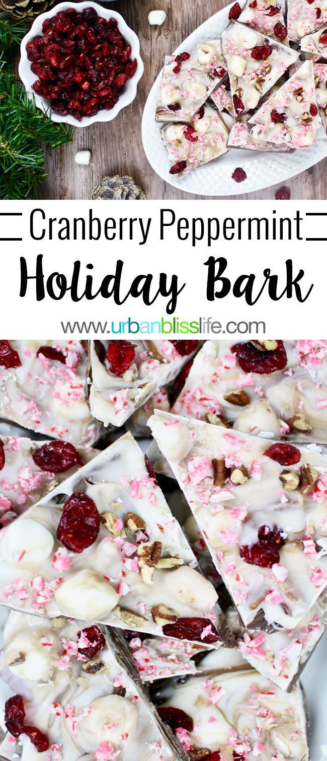 Cranberry Peppermint Holiday Bark is a fast, easy, elegant, and delicious holiday treat that makes a great holiday gift! AD #GracelandHoliday Recipe on http://UrbanBlissLife.com