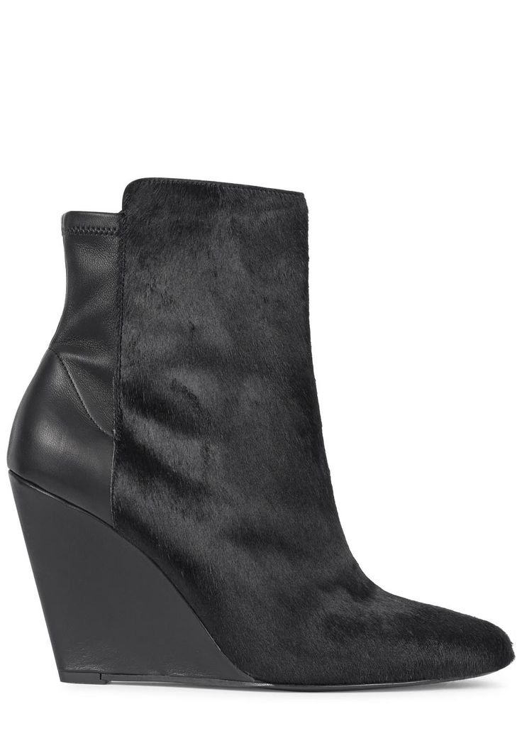 UK exclusive to Harvey Nichols Vince black leather boots Wedge heel measures approximately 4 inches/ 100mm Calf hair panel, almond toe Zip fastening at side