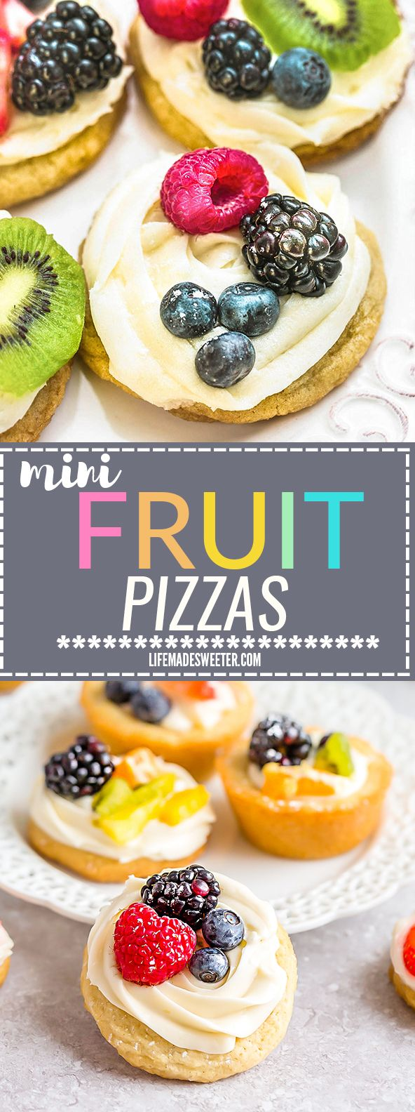This recipe is for Mini Fruit Pizzas - a classic dessert made using homemade soft sugar cookies topped with fresh fruit.  Perfect for spring or summer barbecues, potlucks, showers, and parties. Best of all, no dough chilling required and easy to customize!  Use a mix of fresh strawberries, blueberries, blackberries, raspberries, kiwi, mandarin oranges or pineapples!