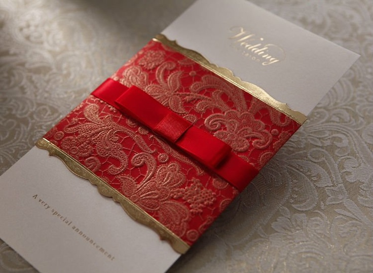 Vintage Red White And Gold Wedding Invitation With Red Ribbon