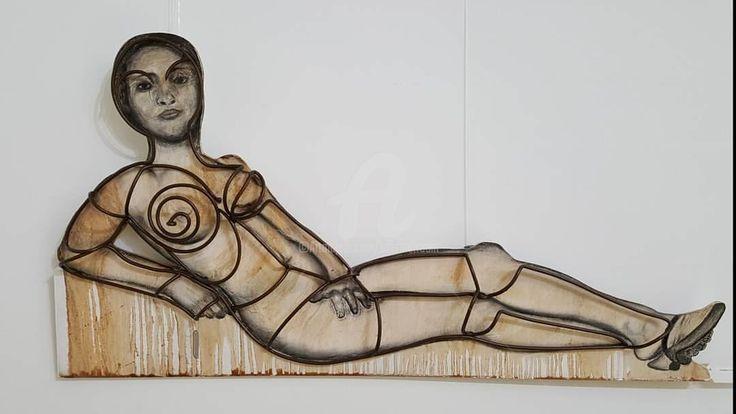 Hommage à Edouard MANET par E9 Inertion - Média mixtes,  100x60x25 cm ©2017 par E9 Inertion -                                                                                                  Art figuratif, Métal, Corps, Femmes, Science-fiction, Érotique, nude, e9 inertion, etienne frouin, nadege frouin, sculptur, edouard manet, olympia, u3