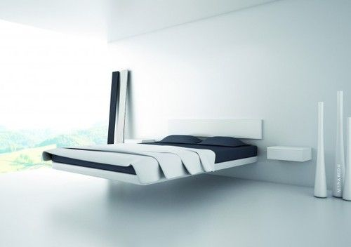 Too modern for me but I dig the floating bed deal.