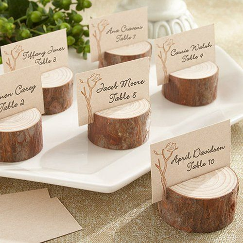 Creative Wedding Favor Ideas from Beau-coup: Rustic Real Wood Place Card/Photo Holders. To see more: http://www.modwedding.com/2014/06/09/creative-wedding-favors/ #wedding #weddings #weddingfavor