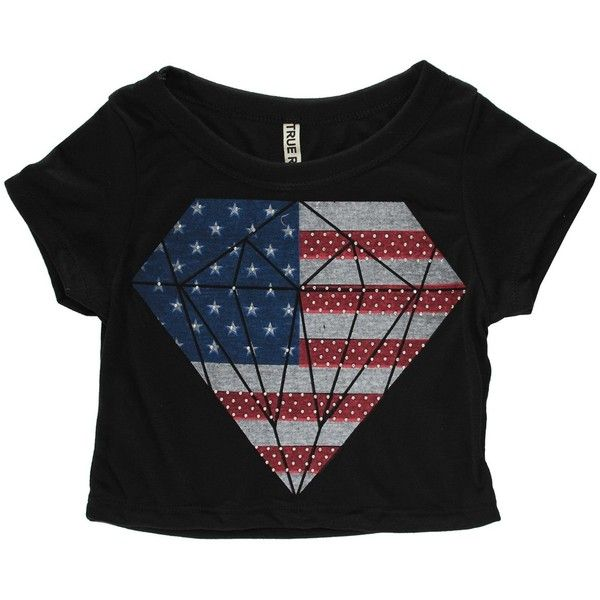 Simplicity Sexy American Flag Crop Top w/ Short Sleeves, Black, L at... (40 BRL) ❤ liked on Polyvore featuring tops, shirts, short sleeve crop top, black american flag shirt, sexy black tops, sexy shirts and american flag top