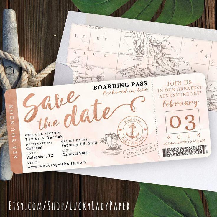 Destination Wedding Boarding Pass Save the Date Invitation