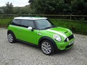 green mini cooper. Love the color,