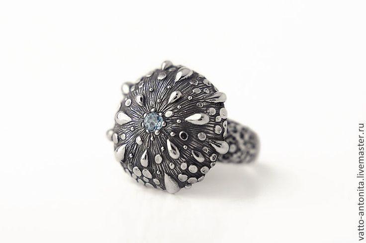 Купить Роса - кольцо из серебра с голубым топазом - серебряный, кольцо из серебра, кольцо серебро