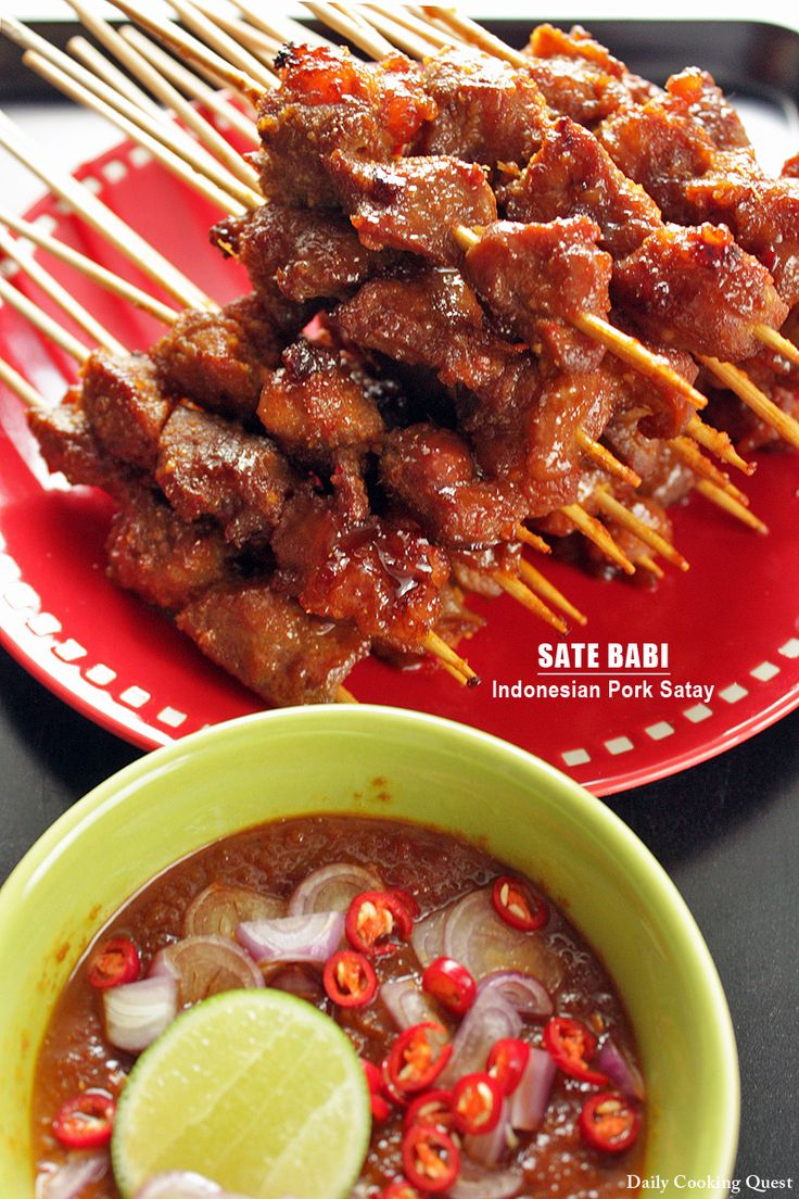Sate Babi - Indonesian Pork Satay. Uses pork roast in cubes, lime, soy sauce, garlic, chili, galangal (can use a mix of lemongrass and turmeric instead) chili, coriander, and cumin.