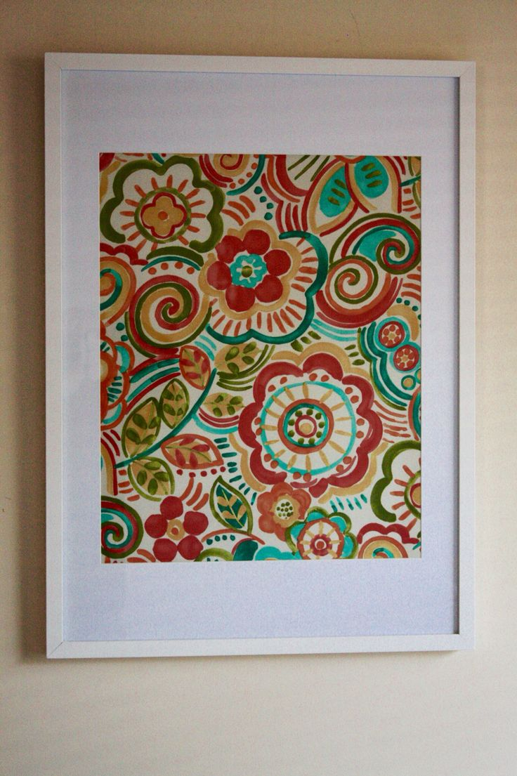 Retro Floral - Red/Orange/Green/Yellow/Blue. By:Mill Creek Frame: 50cm x 70cm