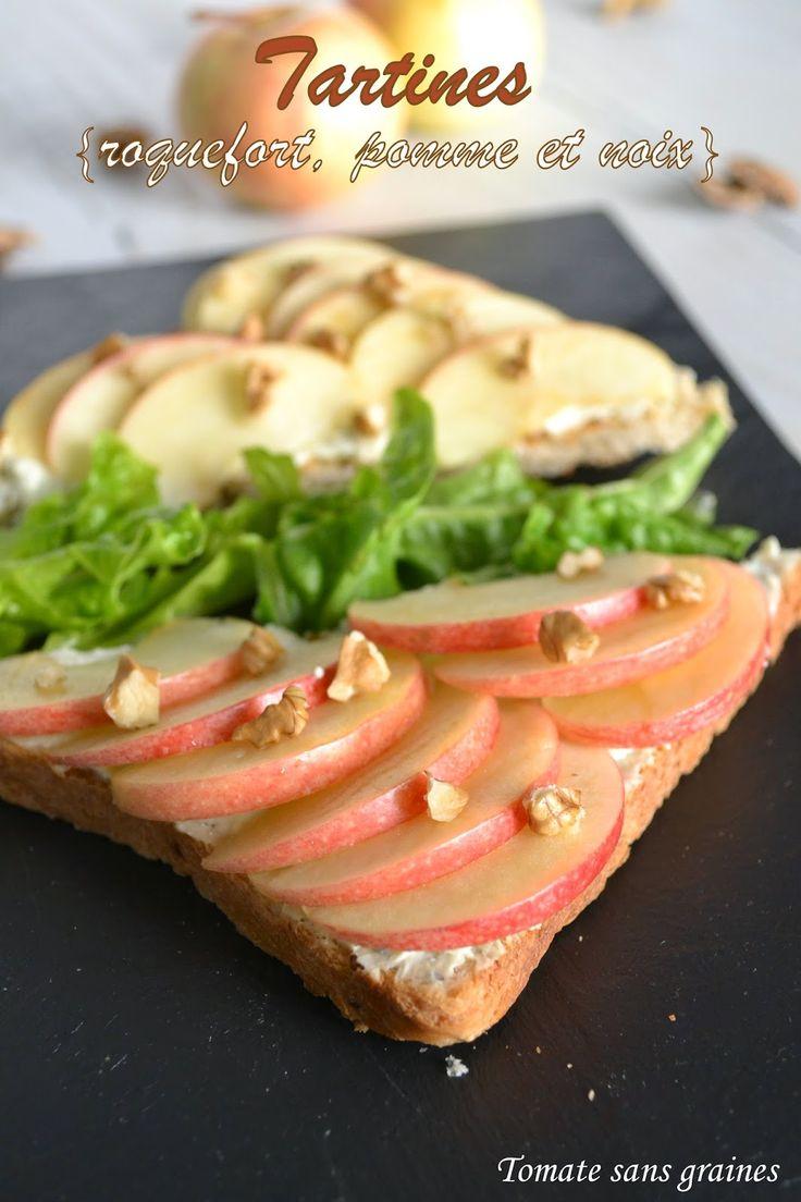 Tomate sans graines: Tartines au roquefort, pomme et noix