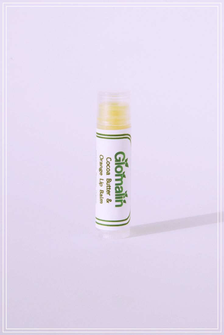 Glomalin Cocoa Butter Orange Lip Balm made from certified organic ingredients, shop at www.glomalin.ca