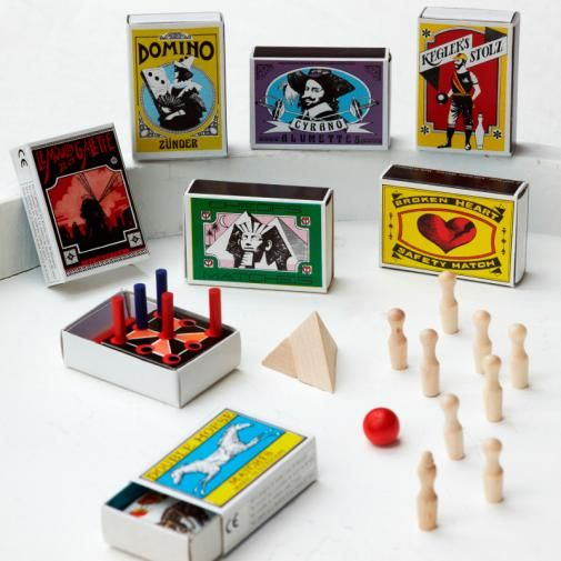 Cute games in a match box as giveaways or to entertain your guests at a party