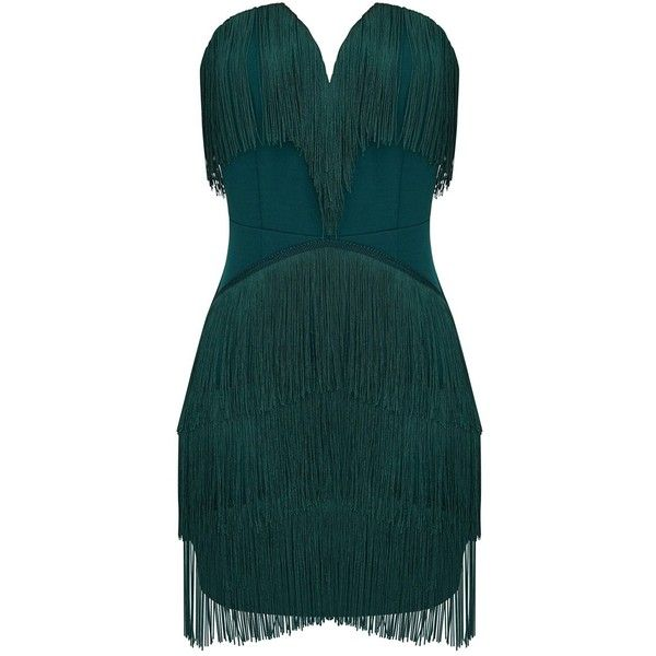 Emerald Green Tassel Detail Plunge Bandeau Bodycon Dress ($55) ❤ liked on Polyvore featuring dresses, green color dress, green bandeau dress, tassel dress, bandeau bodycon dress and green dress