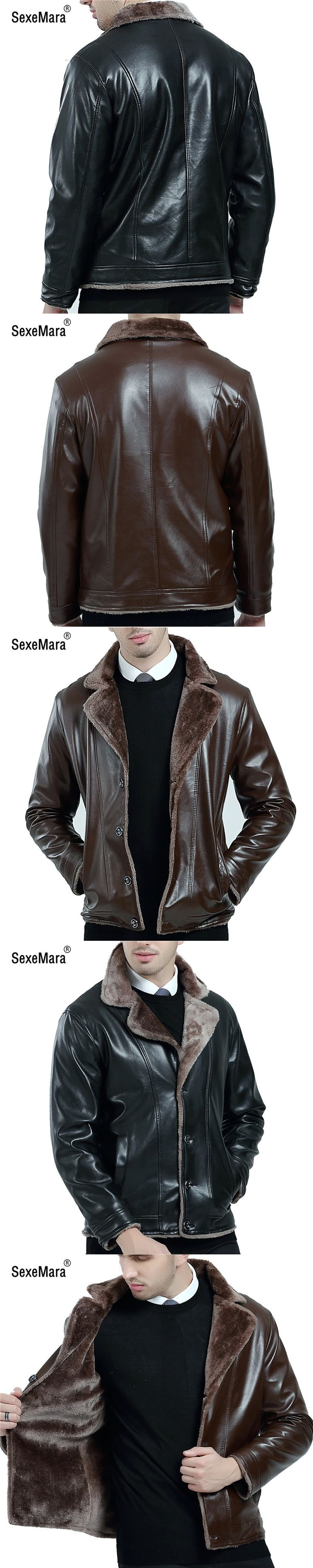 SexeMara Faux Leather Jacket Men 2017 Autumn Winter Casual Thick Warm Coat Men's Motorcycle Outwear PU Jackets Plus Size Homme