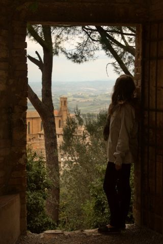 Looking out over the Tuscan landscape in San Gimignano, Italy