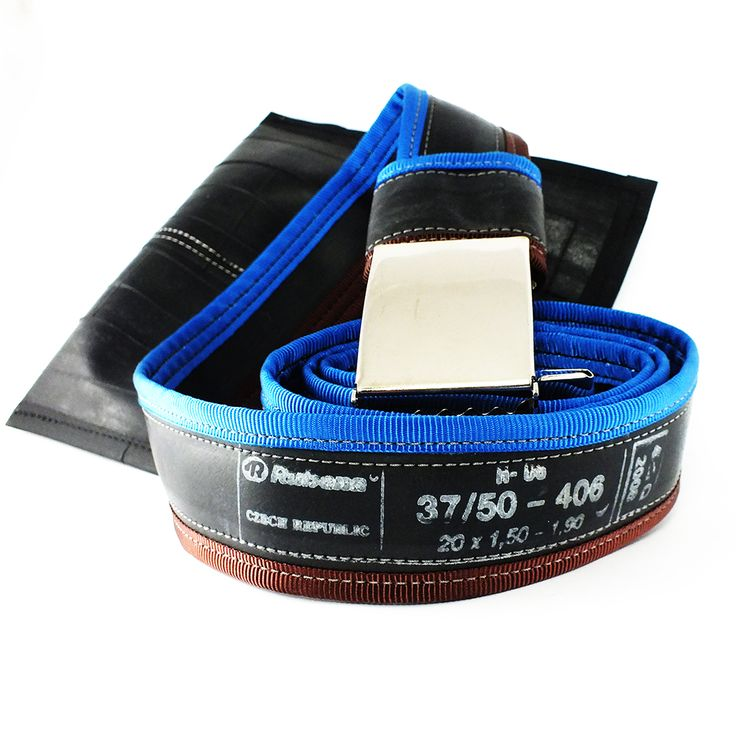 """Punctured"" bicycle inner tube belt, blue-brown - felvarrom.com"