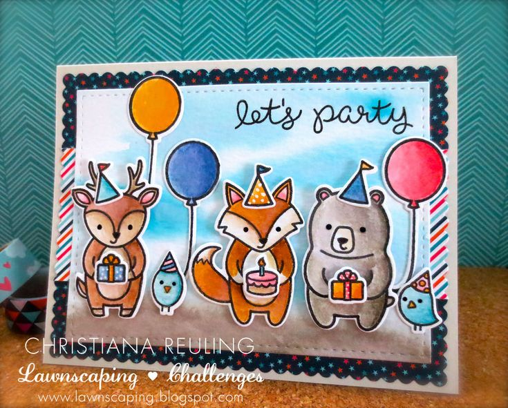 Lawn Fawn - Party Animal, Pint-sized Patterns Beachside 6x6 paper _ Let's Party card by Christiana via Fllickr