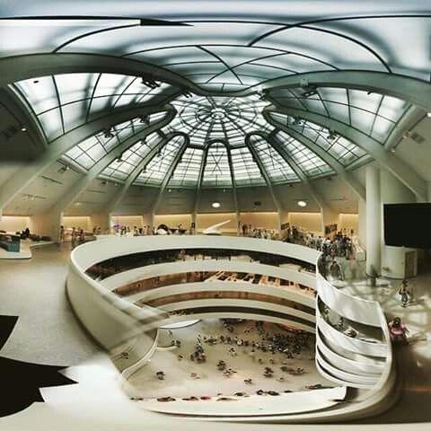 Inside view of Guggenheim, by Frank Lloyd Wright, 1959