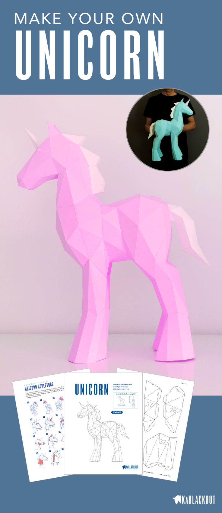 Papercraft Unicorn Template. Make your own beautiful little paper model unicorn using this PDF template and illustrated guide from KaBlackout.