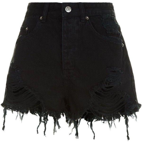 Ksubi Tongue N Cheek Distressed Shorts ($240) ❤ liked on Polyvore featuring shorts, relaxed shorts, distressed high waisted shorts, high-rise shorts, destroyed shorts and high rise shorts