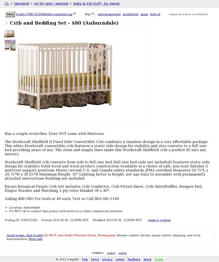 Crib and Bedding Set - $80 (Auburndale)   Cribs, Bed ...