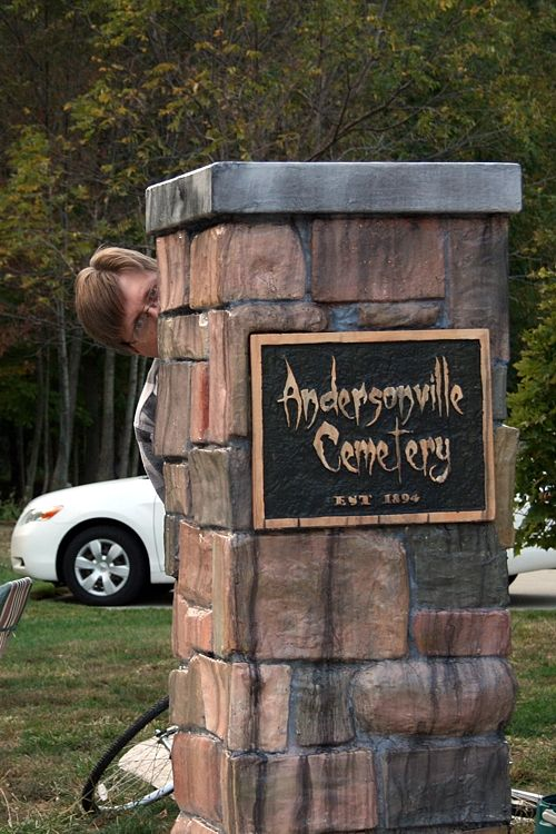 Stone Cemetery Columns : Cemetery entrance columns diy project for halloween