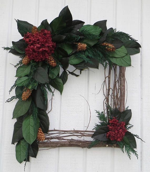 Holiday Square Wreath Square Twig Wreath Dried Flower