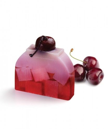 Crazy Cherry creative soap Inspired by the delicious recipe of a cherry cake, this amazing soap is the best seller soap cake, thanks to the sensational sweet fruity fragrance of cherries, mixed with peach and raspberries on a base of vanilla.  This similar look and smell to the real cherry pie is a topper in the most mouth-watering category of soaps.