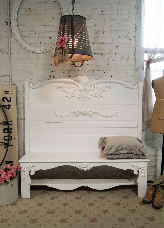 Painted Cottage Shabby Romantic Handmade Bench by paintedcottages, $325.00