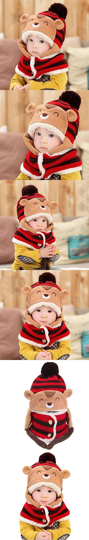 Christmas Gift, Egmy Cute Winter Baby Kids Girls Boys Warm Woolen Coif Hood Scarf Caps Hats (Red)