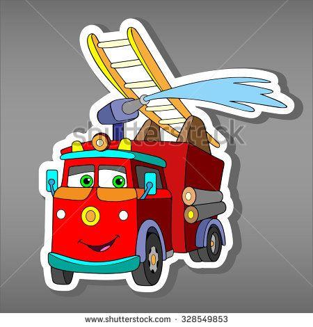 Cartoon Red Fire Truck Car Sticker For Boys Vector Illustration Of Water Engine Car For Scrapbook Emergency Tr Fire Trucks Sticker Stock Monster Trucks Movie