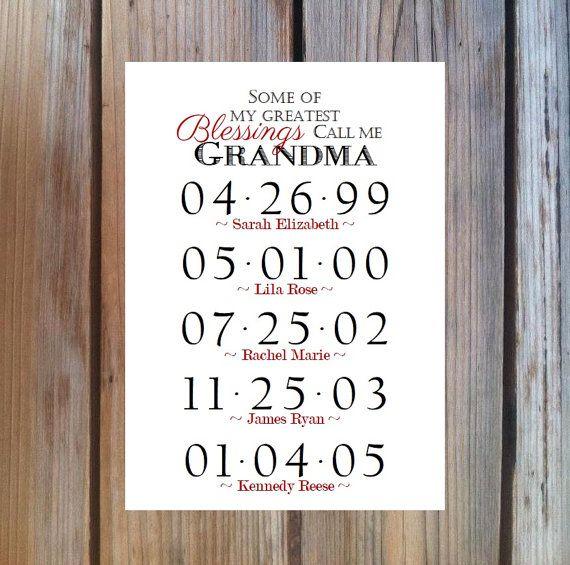 GRANDMA GIFT Grandchildren Birthday Dates by PoppyseedPrints, $13.00