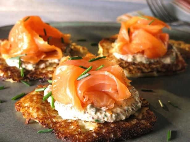 Get Boxty with Mustard-Chive Creme Fraiche and Irish Smoked Salmon Recipe from Cooking Channel