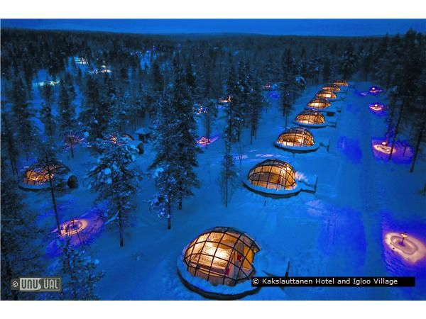 Kakslauttanen Hotel and Igloo Village? Sleeping in the igloo while hopeful for a glimpse of the Northern Lights.
