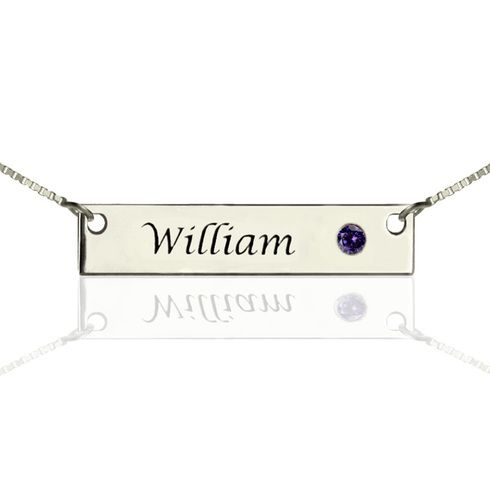Sterling Silver Bar Necklace with Birthstone - engraved with any name and choice of birthstone