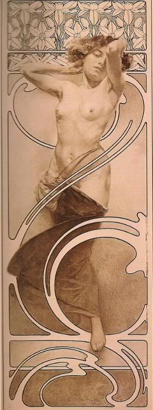 Documents Decoratifs (plate 10), by Alphonse Mucha, France, ca.1901   Nymph in Front of a Daffodil Frieze poster