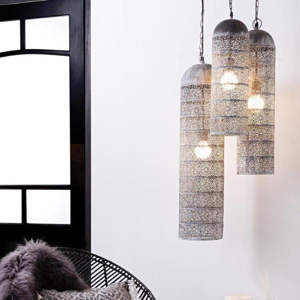 Handmade from iron lace cut metal with an aged pale grey finish.  These beautiful lamps look fabulous in groups of three.
