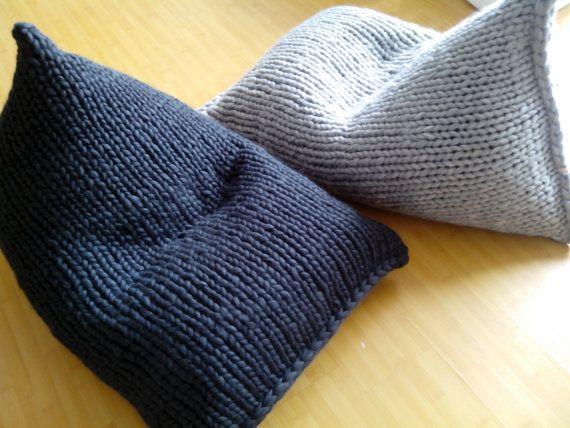 Chunky merino wool knit grey bean bag  / Kids' Bean bag chair / Nursery chair / Floor pillow