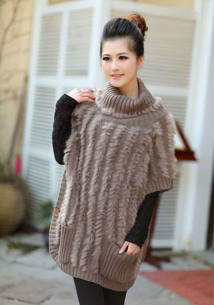 Rabbit Fur Women High Collar Clothing Coat Knit Jacket Cardigan Coat Overcoat  #aumountain