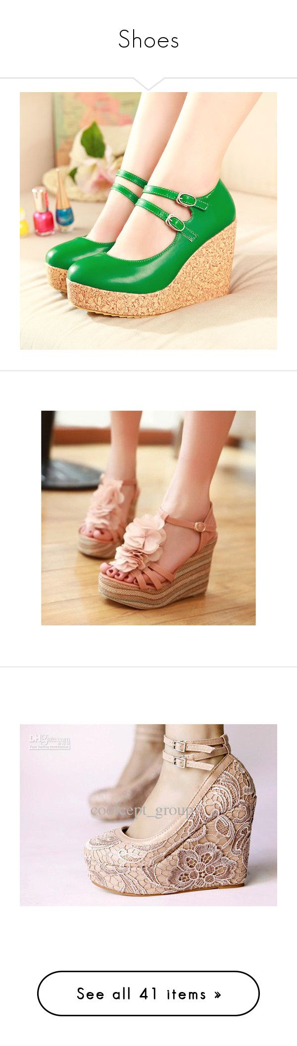 """""""Shoes"""" by foreverhomestuck413 ❤ liked on Polyvore featuring shoes, pumps, green pumps, wedge mary janes, orange wedge shoes, round toe mary jane pumps, wedge pumps, sandals, wedge heeled shoes and evening wedge shoes"""