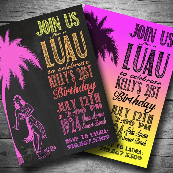 Luau Birthday Invitation, Hawaiian Themed Party Invite, Printable, Text or Email Luau Invite on Etsy, $12.00