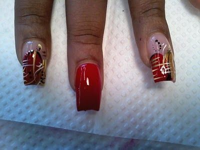Red and Gold Nail Art@Polished Stars Blog