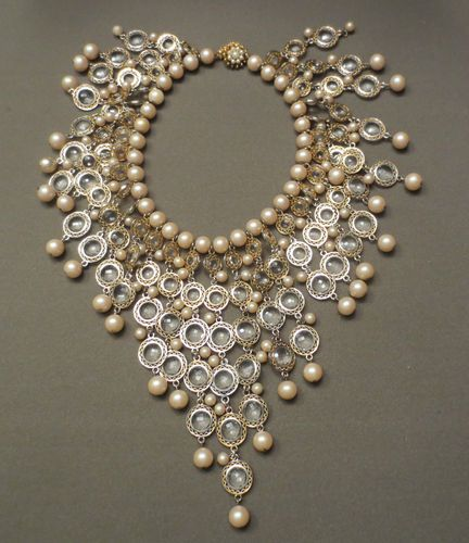 Vintage DeLillo Faux Pearl and Crystal Dangle Necklace