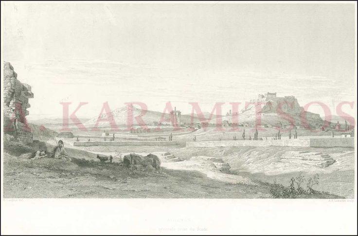 "Ladron, ""ATHENES. Vue generale prise du Stade"" impressive early lithograph view (32x23cm) ..."