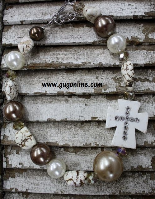 GUG Hand Strung - Shades of Brown Chunky Side Cross Necklace Topped with Crystals