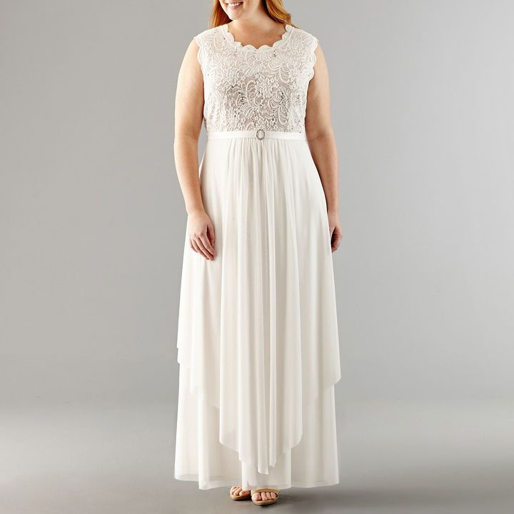 R & M Richards Sleeveless Lace Evening Gown-Plus At