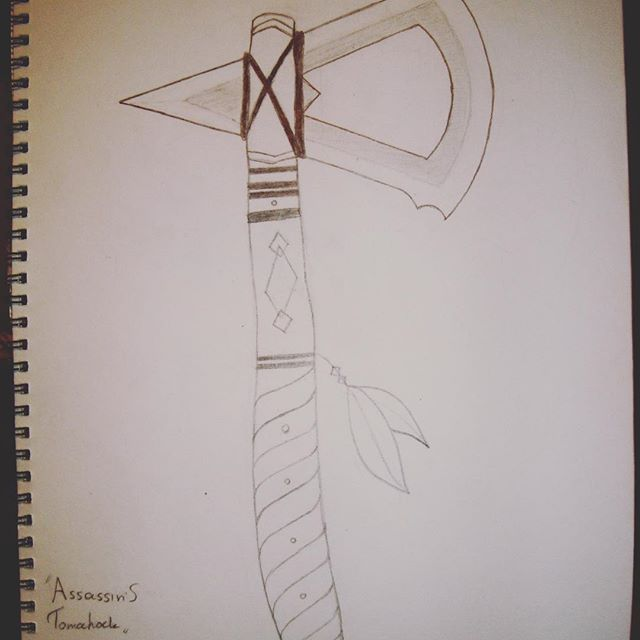 Connor's Tomahawk <} #sketch #art #tomahawk #connorkenway #assassinscreed #ac #ac3 #pencil #geeky #weapon #ratonhaketon