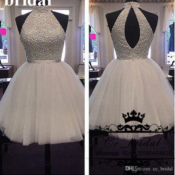 Short Cheap Homecoming Dresses 2016 Halter Neck Sequined Beaded Tulle White Prom…