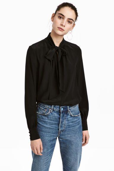 Tie-detail silk blouse - Black - Ladies | H&M GB